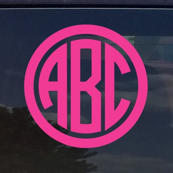 "CUSTOM CIRCLE MONOGRAM INITIALS VINYL DECAL / STICKER CARS YETI CUP LAPTOP PHONE (3"", Pink)"