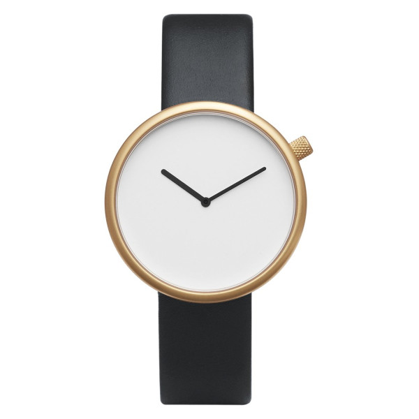Bulbul Ore 07 Men's Watch, Matte Golden Steel on Black Italian Leather