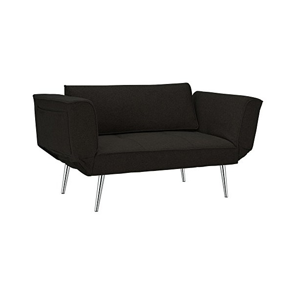 Premium Black Futon/sofa Sleeper Couch with Twill Fabric, Chrome Legs & Adjustable Armrests w/ Magazine Storage