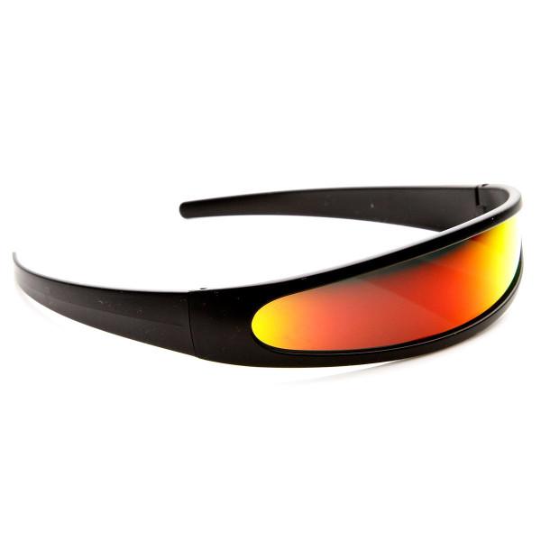 zeroUV Futuristic Narrow Cyclops Color Mirrored Lens Visor Sunglasses