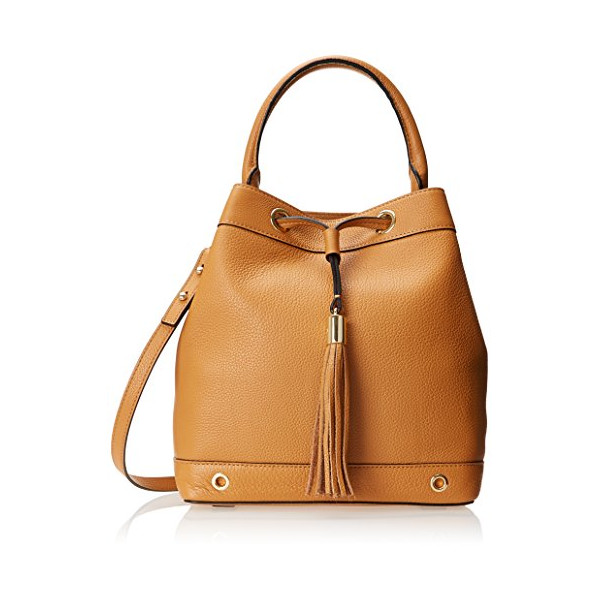 MILLY Astor Drawstring Bucket Handbag, Caramel, One Size