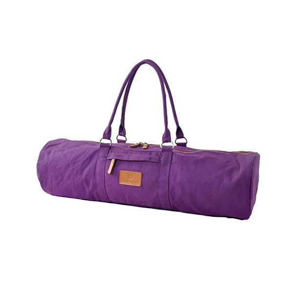 #DoYourYoga Yogabag »Damayanti« / Yoga mat bag made of high-class Canvas yogamats / pilatesmats up to 186 x 60 x 0,5 cm, Lila
