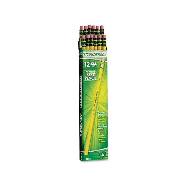 Dixon Ticonderoga Wood-Cased Pencils, #2 HB, Yellow,  Box of 12 (13882)