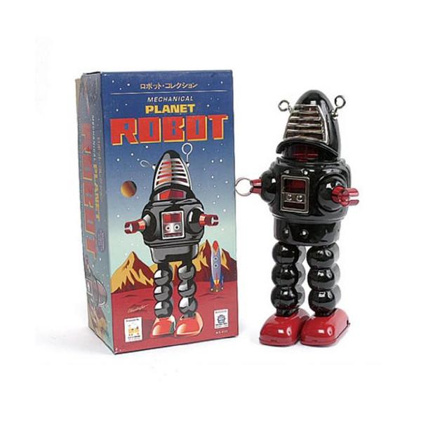 "Vintage Style 8.5"" Black Planet Robot"