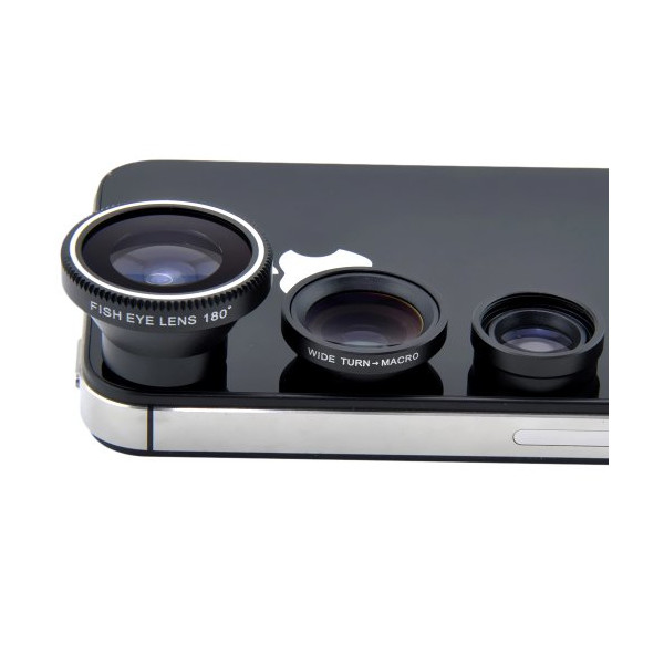 Patuoxun® Magnetic 3in1 Fisheye Lens+Wide Angle+Micro Lens Photo Kit for iPhone 5 5S 5C, iPhone 4 4S, Galaxy S2 S3 S4, HTC One M7-Black