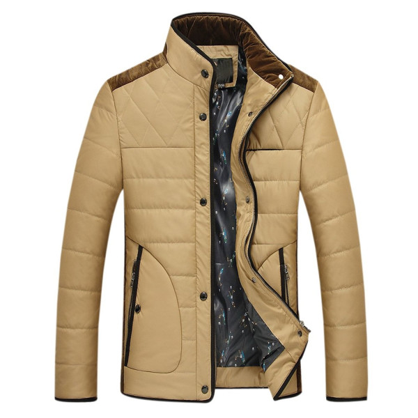 QUANGANG Men's PU Leather Stand Collar Parka Anorak Quilted Outerwear Jacket