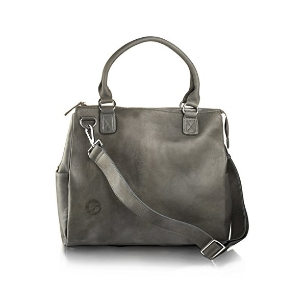 Oemi Leather Diaper Bag ~ 5 Interior Pockets ~ Deluxe Change Pad ~ Wide, Removable Shoulder Strap - Grey