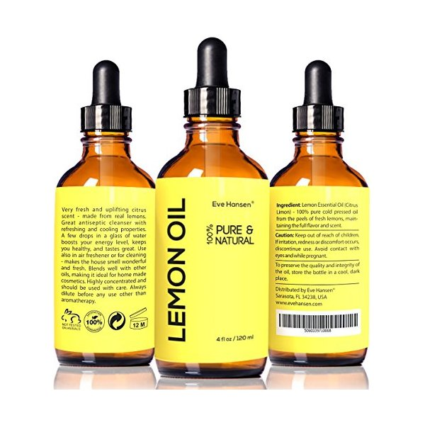 LEMON ESSENTIAL OIL ★ BIG 4 Oz ★ 100% Pure Cold Pressed from Real Lemons ★ Extremely Strong ★ SEE RESULTS OR MONEY-BACK ★ Premium Quality Essential Oil ★ Safe For Ingestion ★ With High Quality Dropper ★ Detox Your Body and Boost Fat Burning Naturally ★ Ma