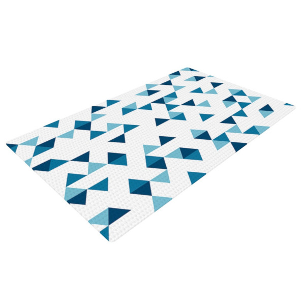 "KESS InHouse Project M ""Triangles Blue"" Navy White Office Desk Mat"