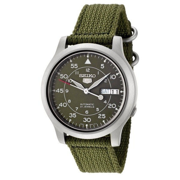 Seiko 5 Automatic Green Canvas Strap Watch