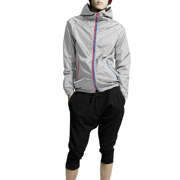 Mens 2012 Korea Fashon Contrast Zipper Up Water Proof Hoodie Light Gray M