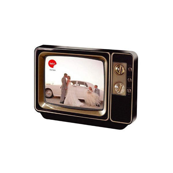 Balvi Vintage Retro Tv Photovision Frame 1970s Television Picture Display (Grey)