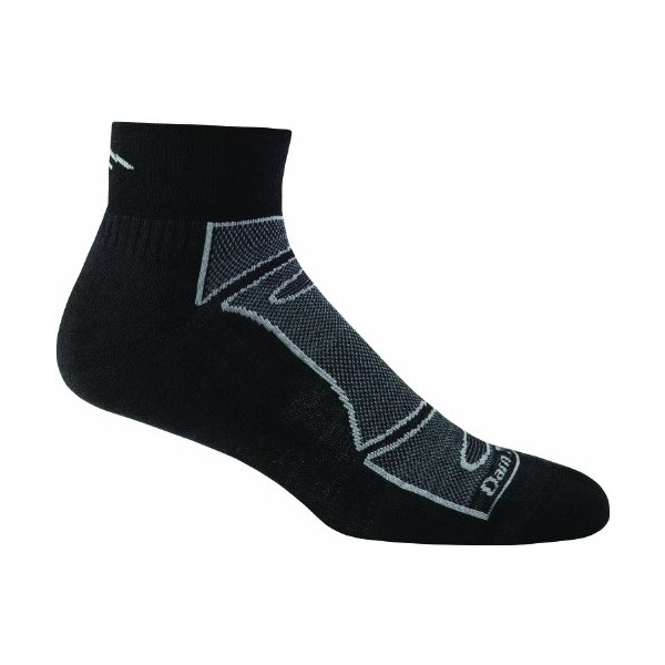 Darn Tough Vermont Men's 1/4 Merino Wool Sock Light Cushion Athletic Socks, Black/Gray, Large