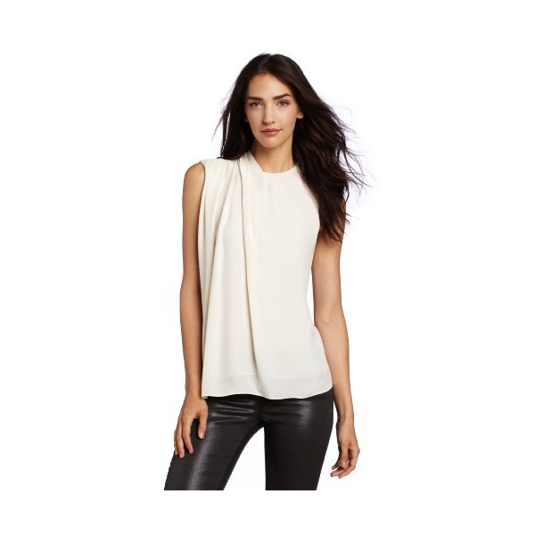 Halston Heritage Women's Short Sleeve Blouse With Shoulder Pleat Detail, Bone, Medium