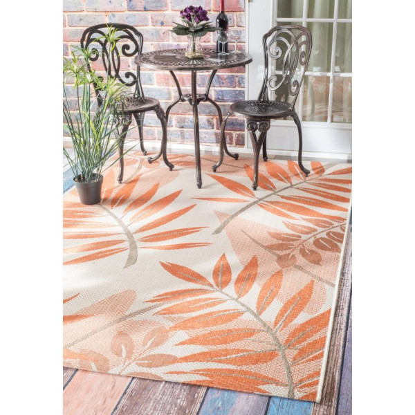 "Contemporary Indoor/ Outdoor Floral Porch Orange Rug, (5' 3"" x 7' 6"")"