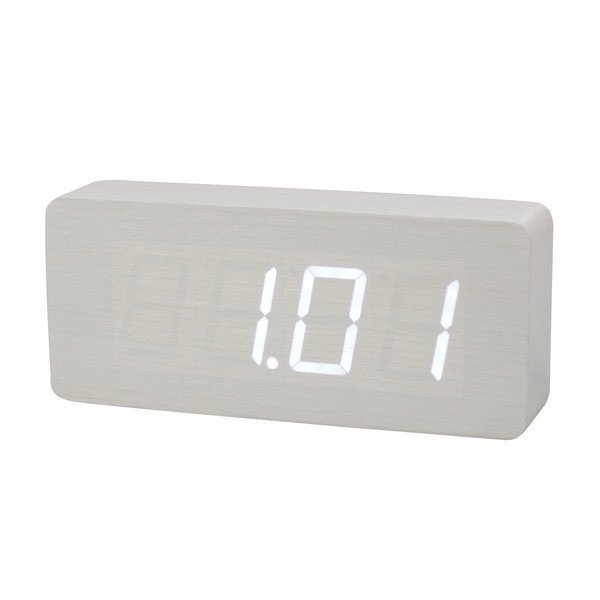 HITO™ Wood Grain LED Alarm Clock, Time Temperature Date