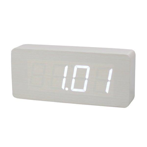 HITO™ Wood Grain LED Alarm Clock, Time Temperature Date