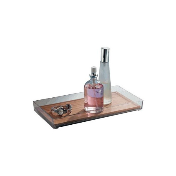 InterDesign Formbu Vanity Tray, Clear, Natural Bamboo