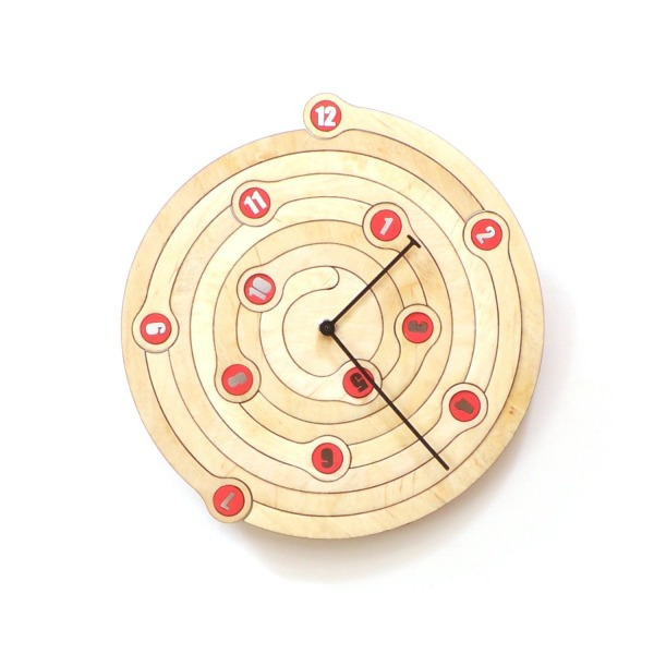 Spiral - unique wall clock made of wood, a wooden clock