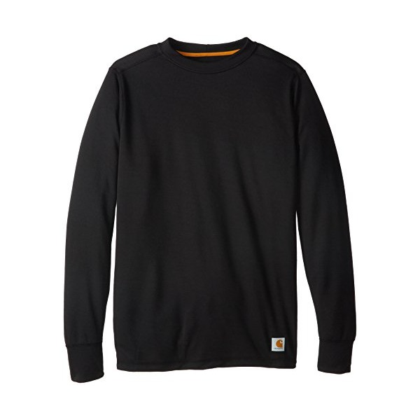 Carhartt Men's Tall Base Force Cold Weather Crew Neck Top,Black,Large
