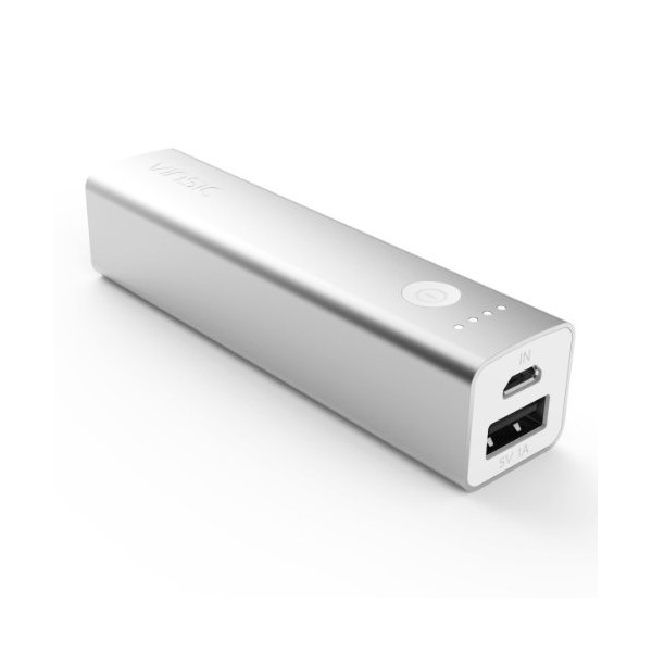 Vinsic Tulip 3200mAh Power Bank, 5V 1A External Mobile Battery Charger Pack for iPhone, iPad, iPod, Samsung Devices, Cell Phones, Tablet PCs (Silver)