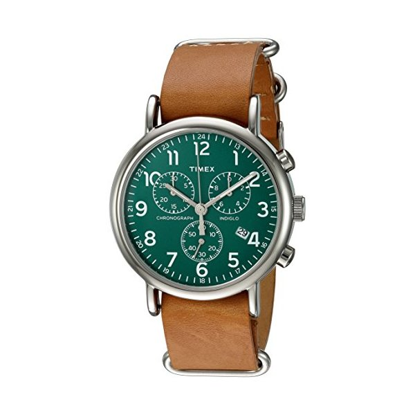 Timex Unisex TWC066500 Weekender Chrono Green/Tan Double-Layered Leather Slip-Thru Strap Watch