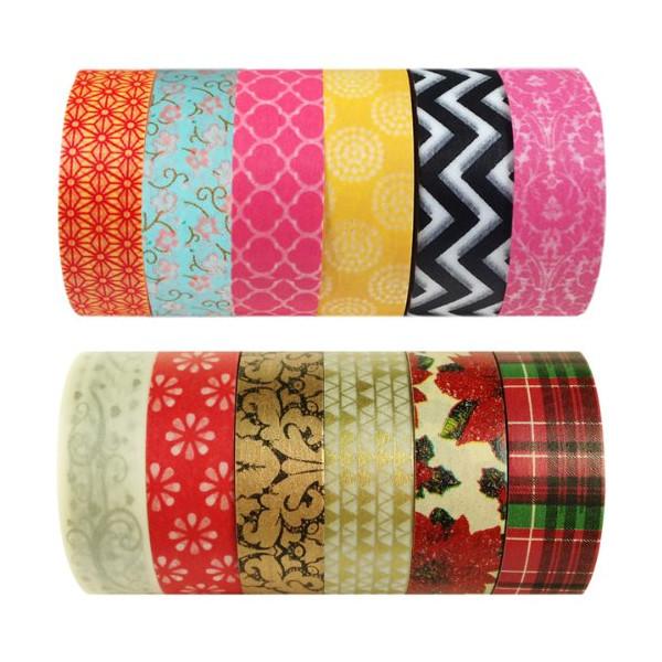 Wrapables Set of 6 Japanese Washi Masking Tape Collection Premium Value Pack, VPK1