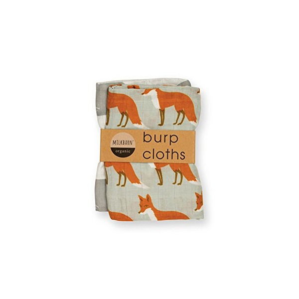 Milkbarn Organic Burp Cloths, 2 Pack (Whale & Fox)
