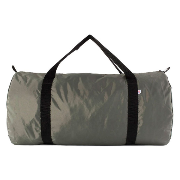 American Apparel Nylon Pack Cloth Weekender Duffle Bag, Grey and Black