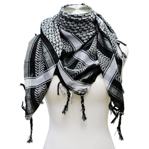 Premium Shemagh Head Neck Scarf - Black/Grey