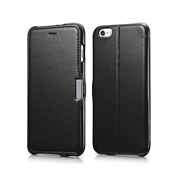 iPhone 6 Plus Case, Benuo [Luxury Series] [Stand Feature] Folio Case Flip Cover, Corrected Grain Genuine Leather Case [1 Card Slot] with Magnetic Closure for iPhone 6 Plus 5.5 inch (Black)