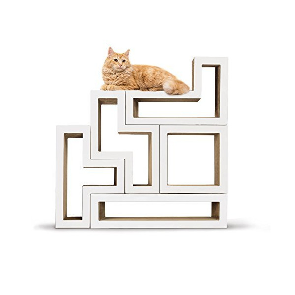 KATRIS Bundle of 5 Blocks | Modular | Multi-Functional | Cat Tree Condo Furniture System   Pre-Attached White MONO Covers