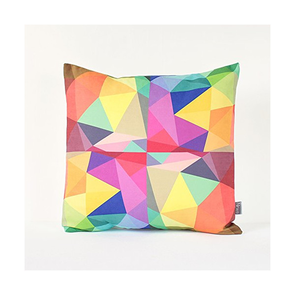 "Diamond Pillow Cover in Red, Aqua, Blue, Orange, Yellow, Purple, Pink, Brown / Geometric Cushion / Colorful Triangle Pillow / 18"" x 18"" Throw Pillow"