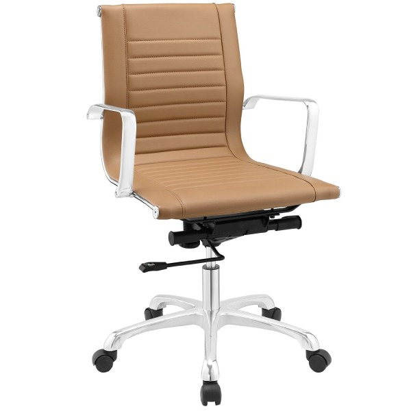 LexMod Runway Mid Back Office Chair, Tan