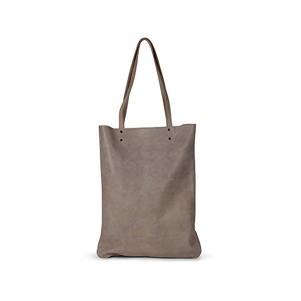 Leah Lerner Women Tote Bag Italian Leather Grey Distressed