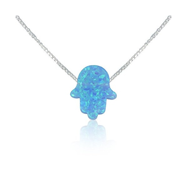 Light Blue Opal Hamsa Hand Necklace - 14 to 22 Inch