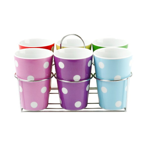 Present Time Porcelain Mug Set with Stand, Multi Dots, Set of 6