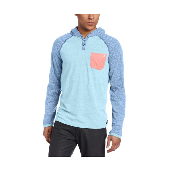 Volcom Men's Tempest Long Sleeve Raglan, Blue Drift, X-Large