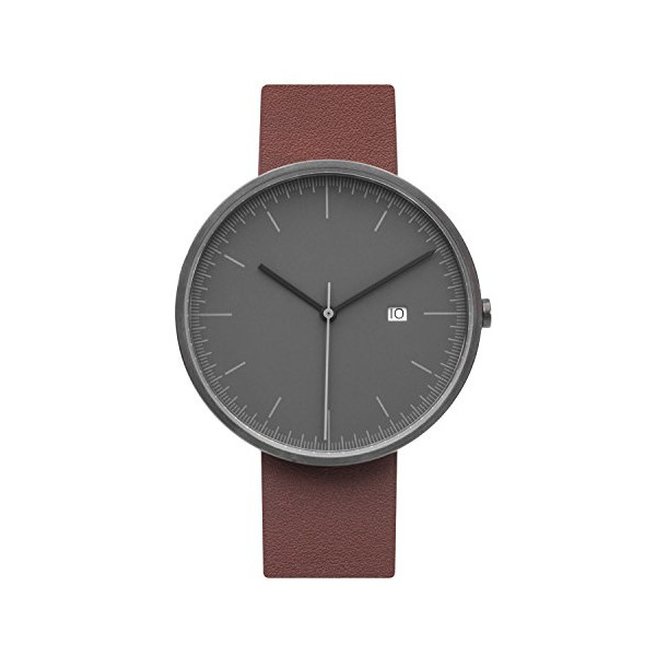 BIJOUONE B202 Series Men's Grey Dial Stainless Steel Swiss Quartz Calendar Brown Leather Watch