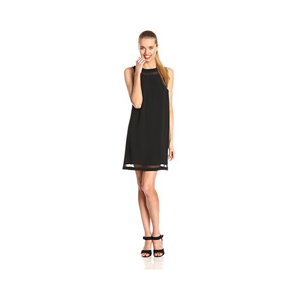 Kensie Women's Modern Crepe Shift Dress, Black, Small