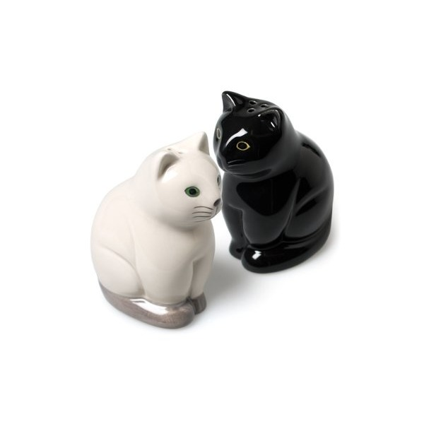 Abbott Collection Sitting Cat Salt and Pepper Shakers, Black/White