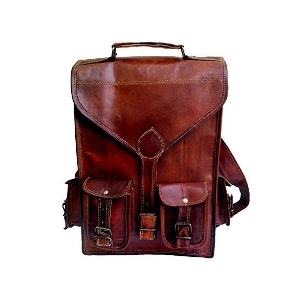 """15"""" Genuine Leather Vintage Laptop Backpack Shoulder Messenger Bag Briefcase"""