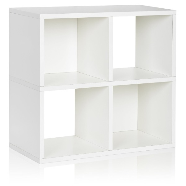 Way Basics Eco 4 Cubby Bookcase, Stackable Organizer and Storage Shelf, White (made from sustainable non-toxic zBoard paperboard)
