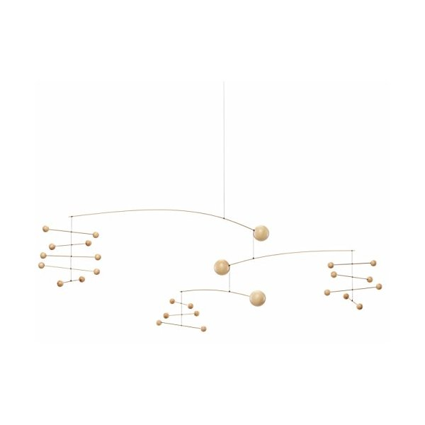 Symphony in 3 Movements Hanging Mobile - 33 Inches - Beech Wood and Steel - Handmade in Denmark by Flensted