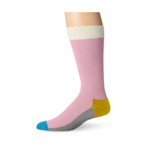 Happy Socks Men's Five Color Socks, Light Pink, 10-13