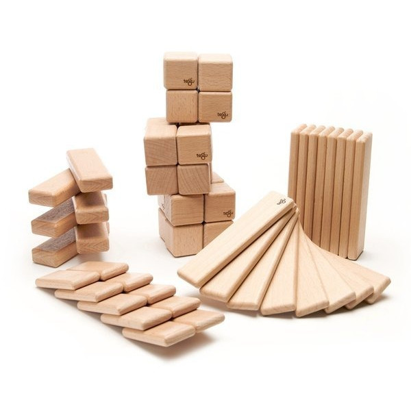 52 Piece Tegu Original Magnetic Wooden Block Set, Natural