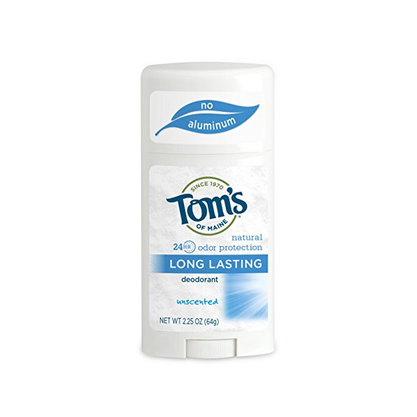 Tom's of Maine Natural Deodorant Stick, Unscented, 2.25-Ounce Stick (Pack of 6)