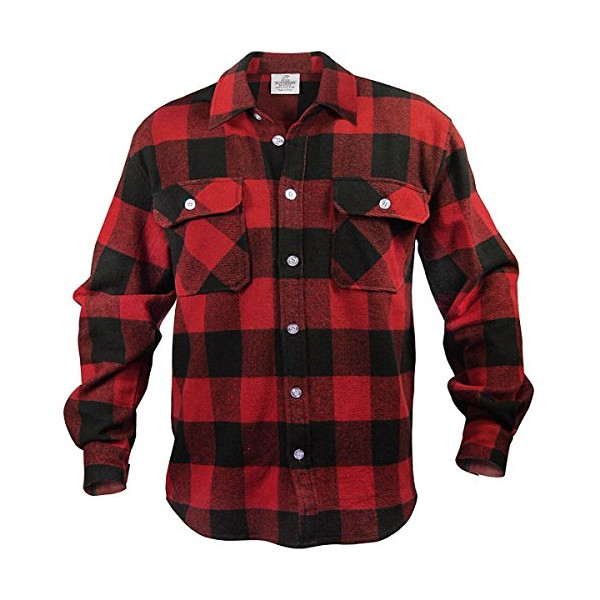 Rothco Men's Extra Heavyweight Buffalo Plaid Flannel Shirt, Black/Red, XLarge