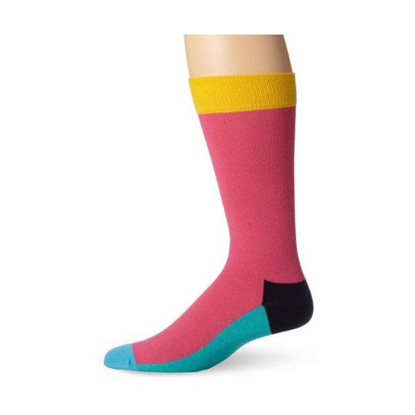 Happy Socks Men's Five Color Socks, Pink, 10-13