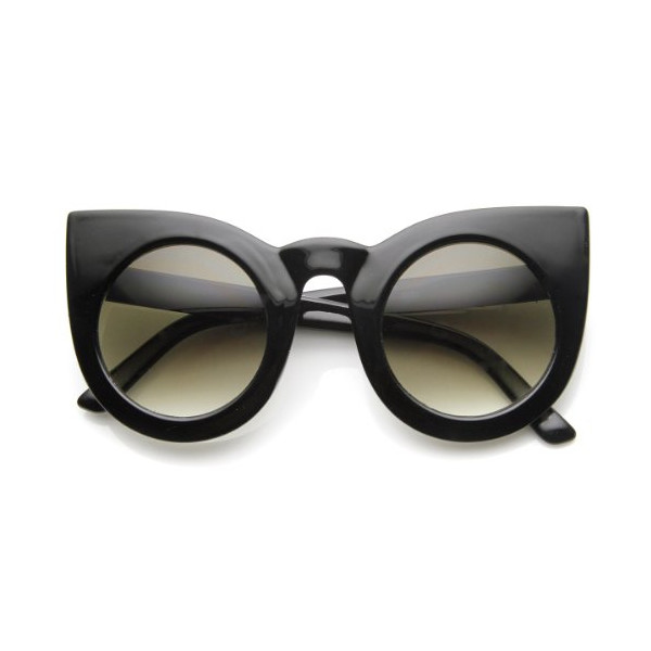 Womens Oversized Bold Rim Round Cateye Sunglasses (Shiny-Black Smoke-Gradient)